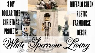 3 DIY DOLLAR TREE CHRISTMAS BUFFALO CHECK FARMHOUSE CHRISTMAS DECOR PROJECTS