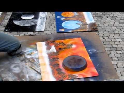 Spray can street artist in Prague