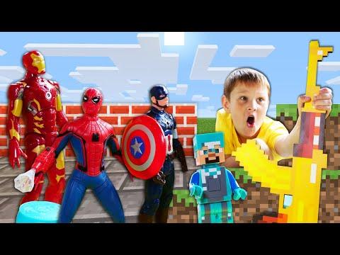 Супергерои и игры стрелялки - Стив Майнкрафт на Соревнованиях по стрельбе! – Видео для мальчиков.