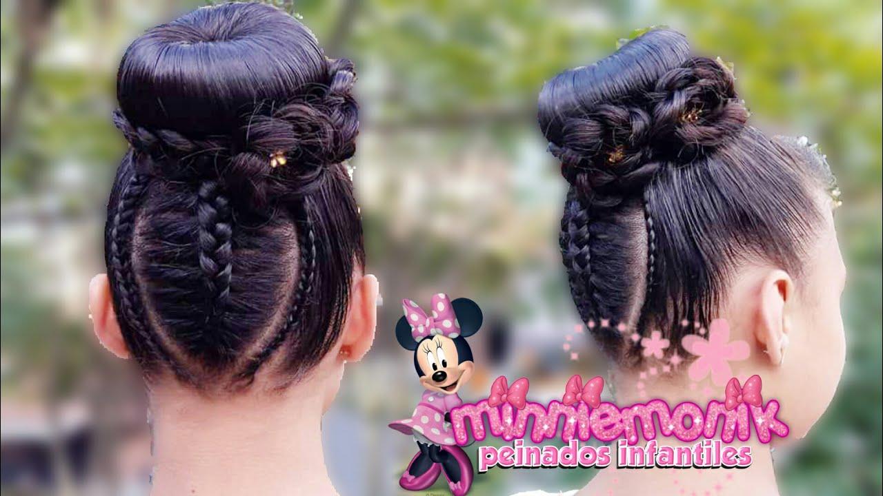 Peinados Infantiles Trenza En Hoja Con Chongo