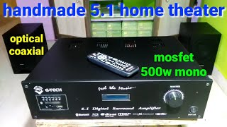 5.1 amplifier hand made homethetear optical coaxial || Dolby digital sound || mosfet 500w mono ||