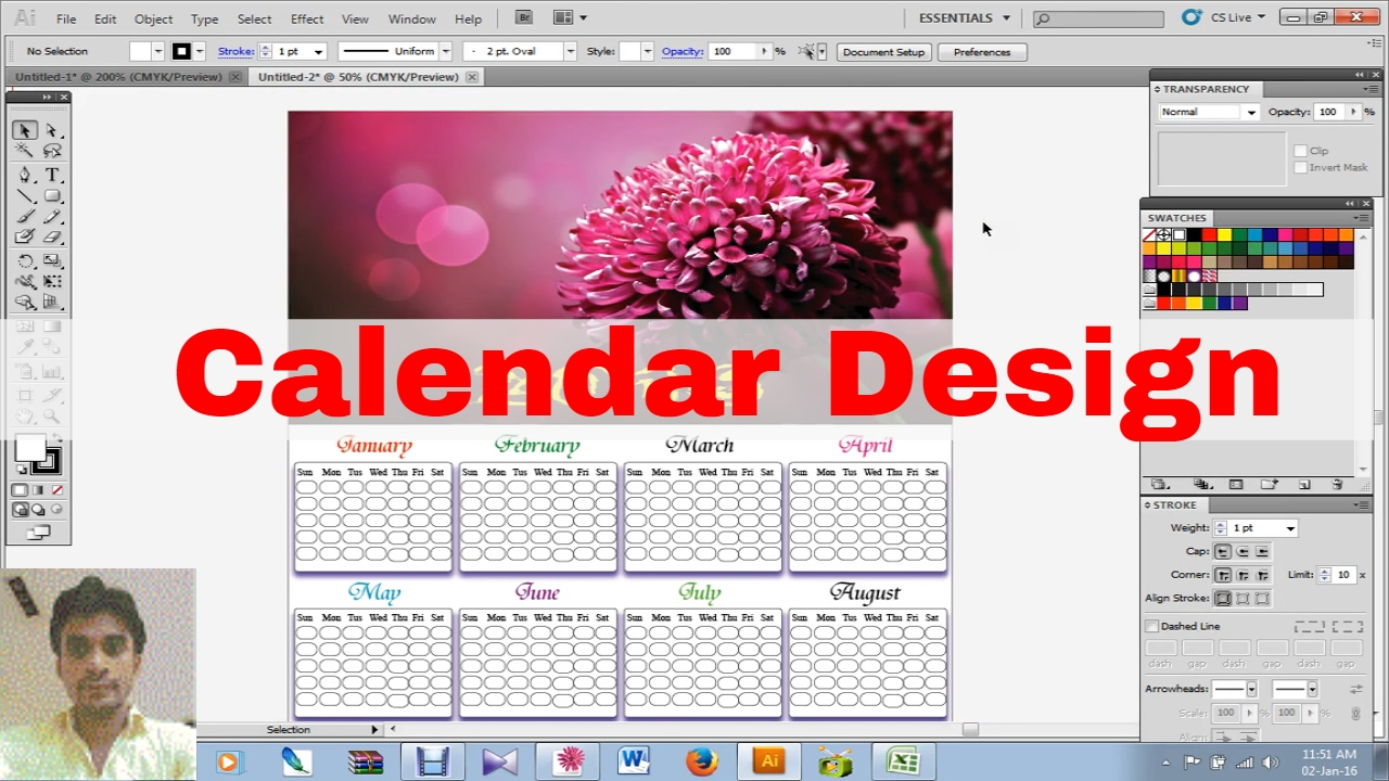 Calendar Typography Xp : How to create calendar design in illustrator cs youtube