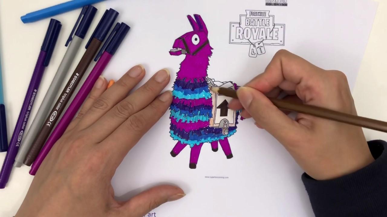 Amazing Coloring Fortnite Llama تلوين رائع لاما فورتنايت Youtube