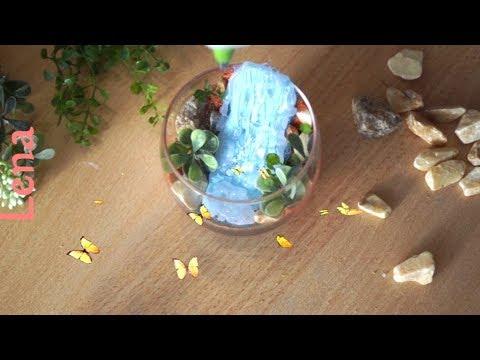 Wasserfall basteln in Kleinformat ⛲ Miniature Waterfall DIY ⛲ водопад из горячего клея своими руками