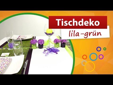 ♥ Tischdeko lila grün ♥ Tischdekoration - trendmarkt24