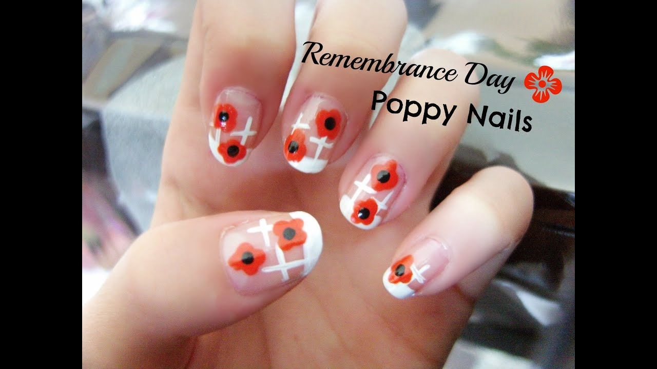 poppy nail art remembrance day youtube