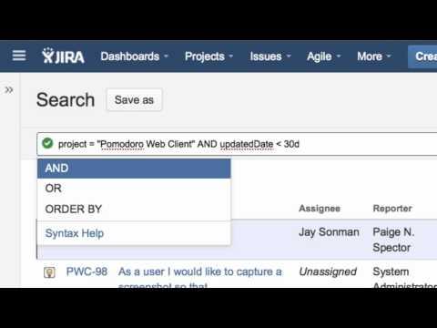 Using JIRA's Advanced Search, JQL