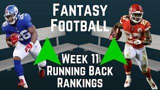 Fantasy Football - Week 11 Running Back Rankings