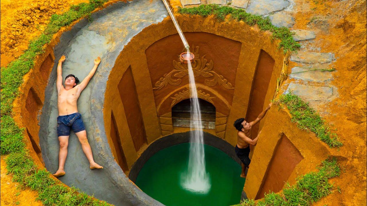 Build Swimming Pool Water Slide Park Around Secret Underground House