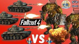 Fallout 4 Защита Танками от Легендарных Боссов Чудищ 600 Уровень