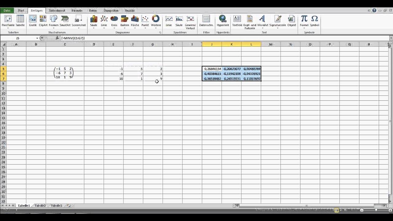 Inverse einer Matrix bilden - Excel erklärt - YouTube