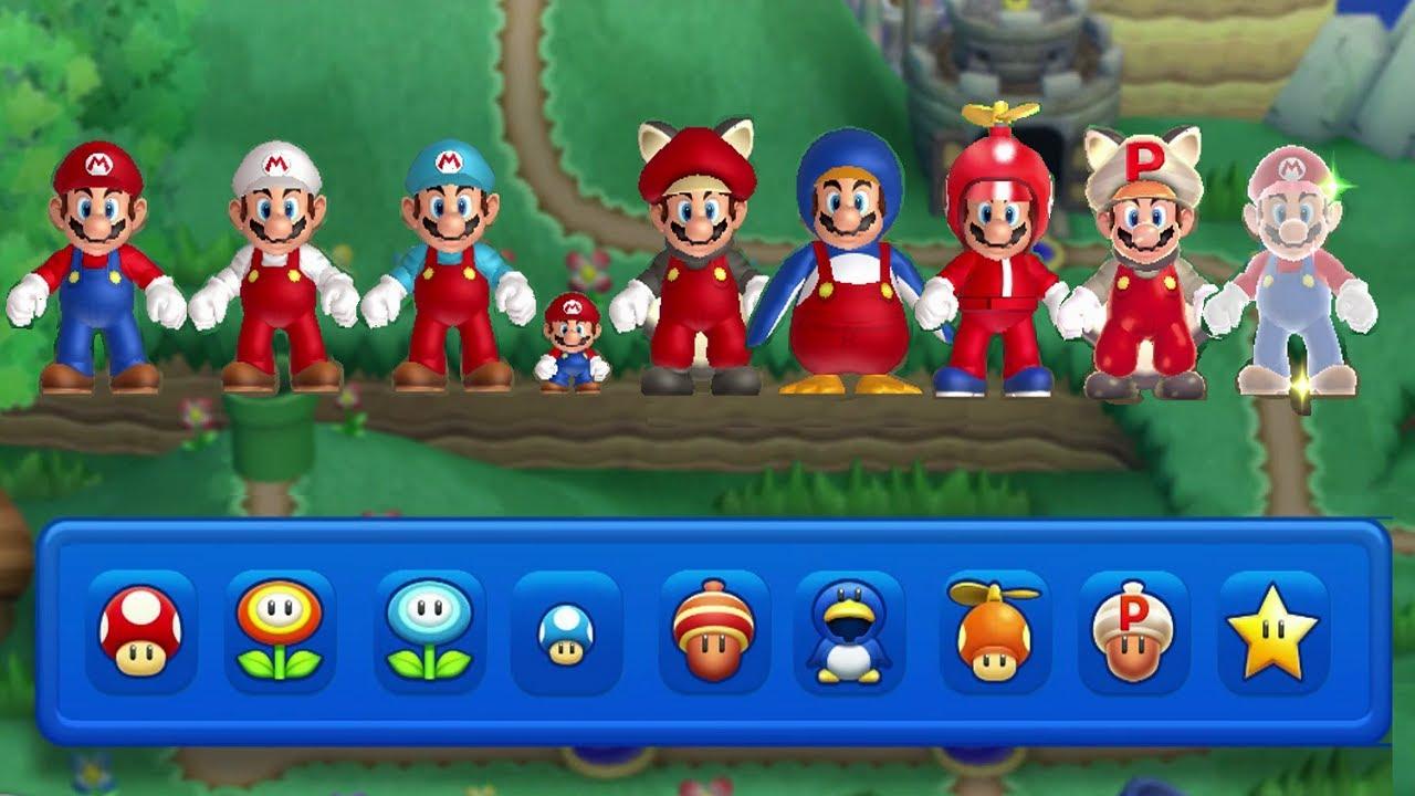 New Super Mario Bros U All Power Ups 2 Player Youtube