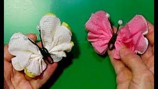 ПУШИСТЫЕ БАБОЧКИ ИЗ САЛФЕТКИ СДЕЛАТЬ СВОИМИ РУКАМИ/идеи поделки из бумаги бабочки красивые