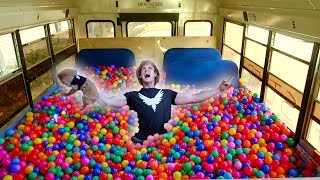 100,000 PLASTIC BALLS IN MY SCHOOL BUS! (driving)