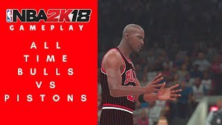 NBA 2K18 Gameplay | Full Game | All Time Bulls vs. All Time Pistons (Superstar)
