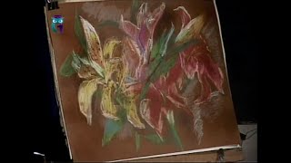 Уроки рисования (№ 67) пастелью. Рисуем цветы, используя приёмы штриховка, слияние цветов