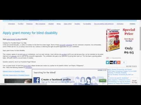 Apply grant money for blind disability