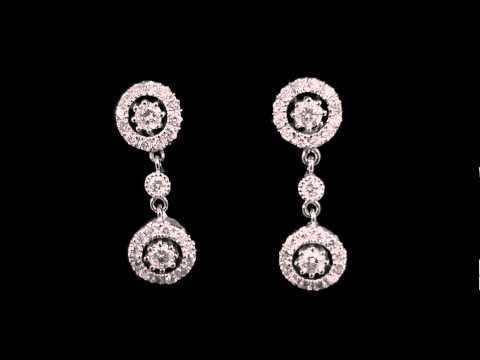 1 1/4 CTW Vintage Diamond Dangle Drop Earrings in 14K White Gold