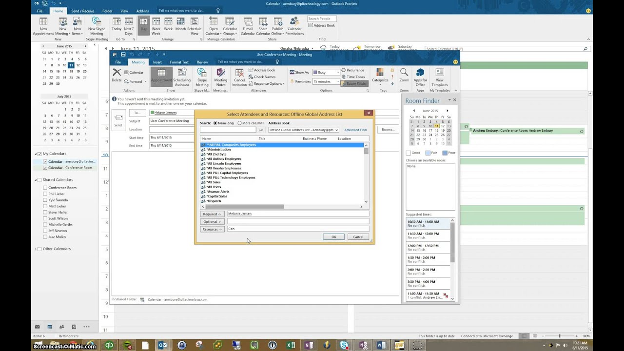 how to find available meeting rooms in outlook 2013