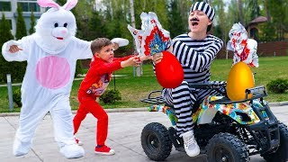 Artem Pretend Play with Easter Bunny - Eggs Surprise