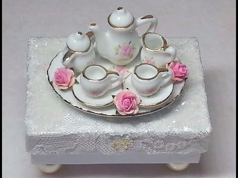 DIY~Make An Adorable Shabby Chic Miniature Tea Set Trinket Box!