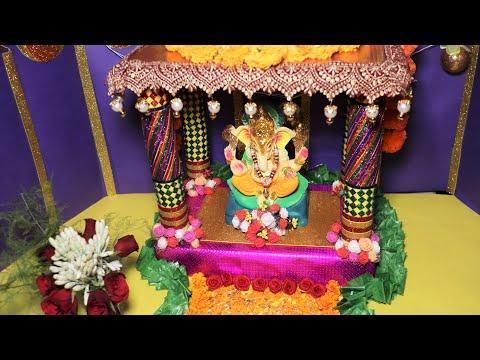 DIY Ganpati Decoration at Home   Eco Friendly Ganpati Decoration Ideas for Home Easy   #26