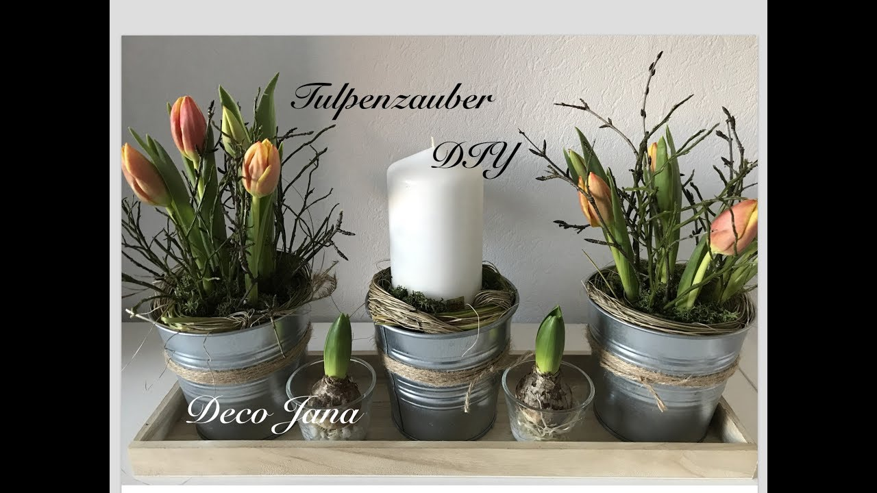 diy fr hlingsdeko tischdeko mit tulpen deco jana youtube. Black Bedroom Furniture Sets. Home Design Ideas