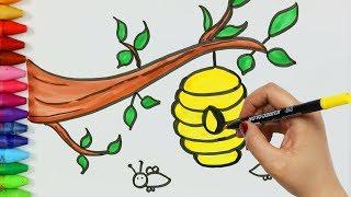 Come disegnare e colorare ape con l'alveare 💫   Come disegnare e colora per i bambini