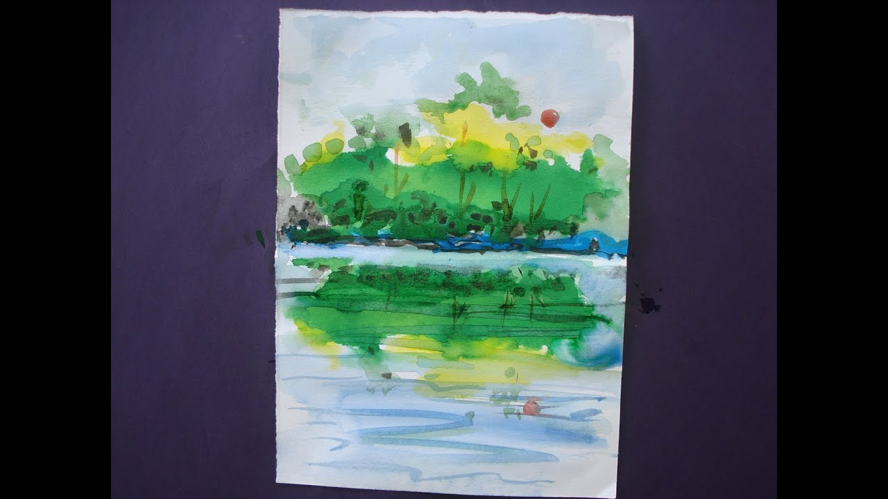 How to draw nature painting with water colour youtube for Pictures to draw on canvas
