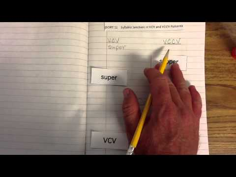 syllable division  v cv and vccv   Resource      Teacher stuff