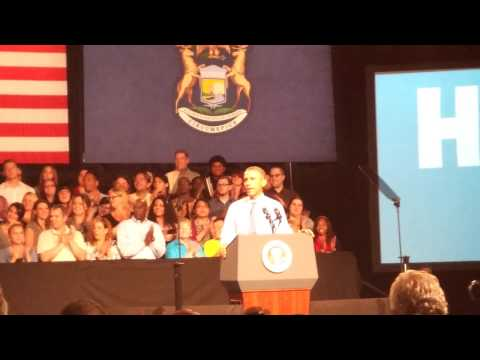Obama speaking at Macomb Community College, Michigan USA