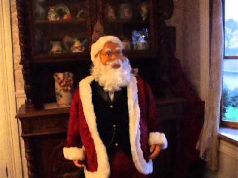 Life Size 5 Ft. Gemmy Animated Singing Lighted Santa Claus Karaoke w Mic and Jack