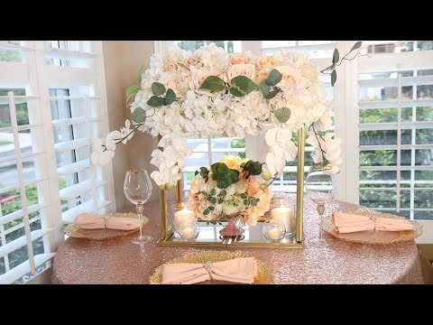 DIY Dollar Tree Lighted Mirror Flower Stand