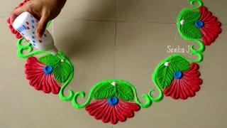 Diwali special flower rangoli | Easy and quick rangoli design for festivals | Rangoli By Sneha J |