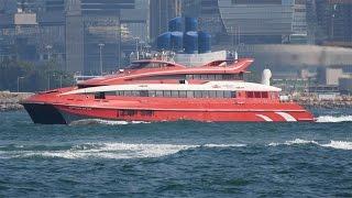 香港とマカオを結ぶ噴射飛航の高速船「宇航2008」の香港出港シーンです...