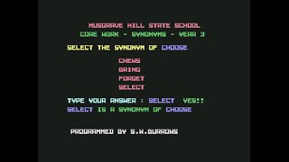 C64: Musgrave Hill State School - Core Work - Synonyms - Year 3