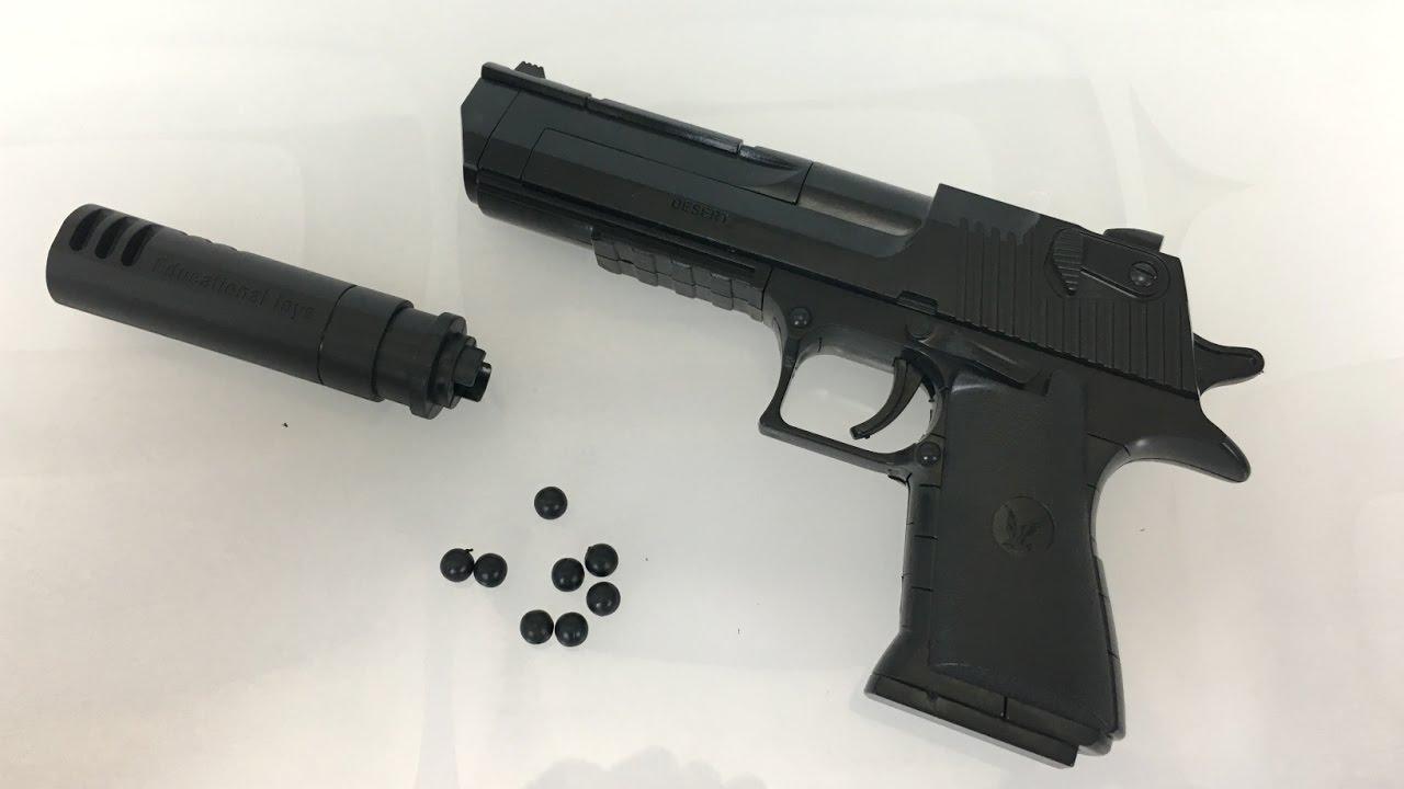 Nerf Gun Toy Block Building Pistol Toy Revolver Shooting Bullets Desert Eagle