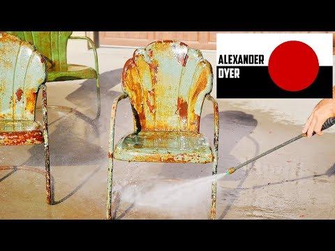 Pressure Washing Painted Metal Chairs