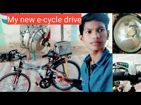 My e  cycle drive test . Top speed 40 . My normal' cycle modify into motor cycle . You must watch .