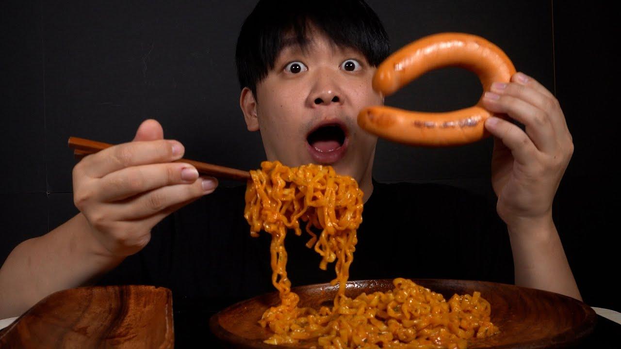 [MUKBANG/ENG] Kielbasa sausage & Carbonara fire noodles
