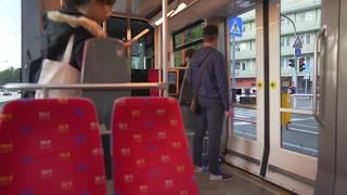 Slovakia, Bratislava, tram 4 ride from Chatam Sófer to Mariánska