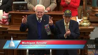 Michigan Senate honors WWII veterans Frank Dick and Victor Cross
