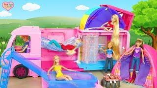 Barbie Dream Camper Barbie-Puppe Wohnmobil Berkemah mobil untuk boneka