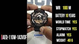 Casio AEQ-110W-1A3VDF youtubeflow casio digital watch