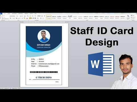 Staff ID card design in Microsoft word Lates video by C tech 2020
