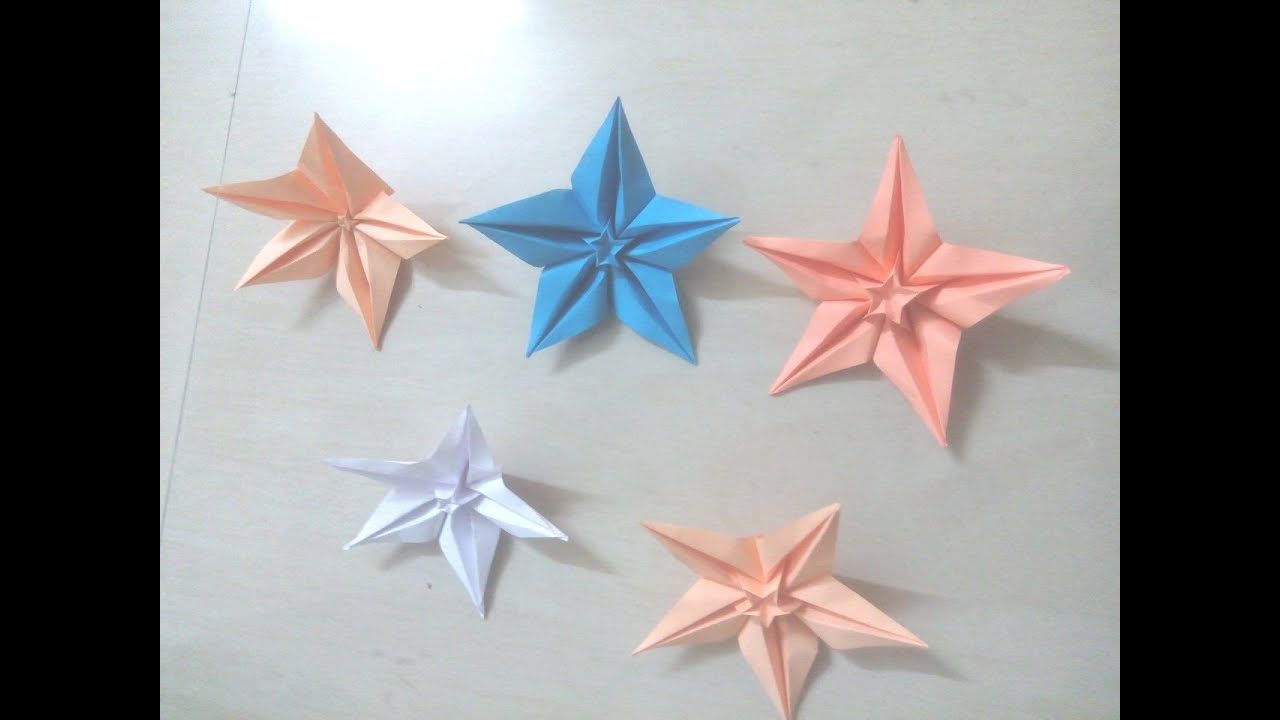 Diy How To Mak 5 Pointed Star Flowers Christmas Star Origami For