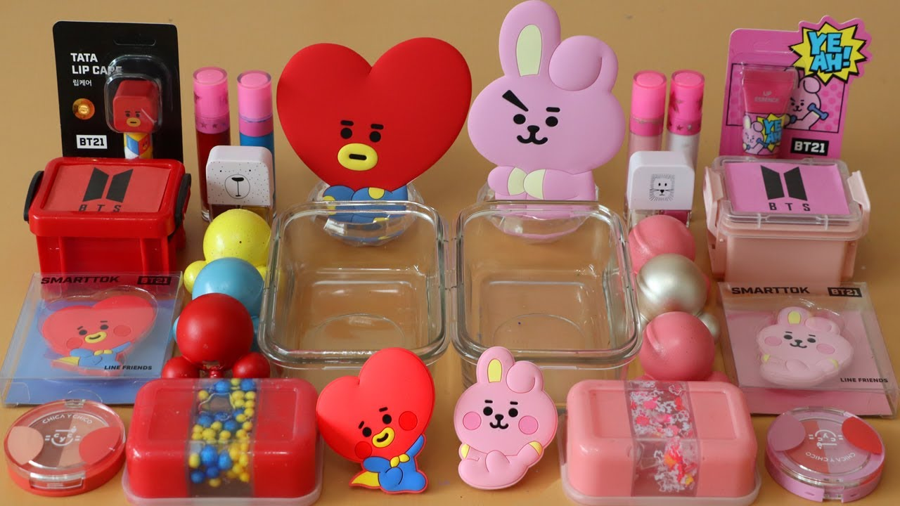 """Mixing""""BTS TATA&COOKY"""" Eyeshadow and Makeup,parts,glitter Into Slime!Satisfying Slime Video!★ASMR★"""