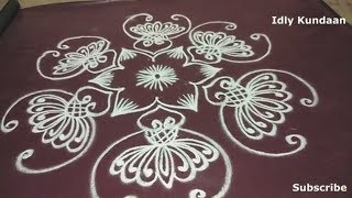 Simple Flower Rangoli Design | Poo Kolam Design With Simple Dots | Muggulu Rangoli with Easy Dots