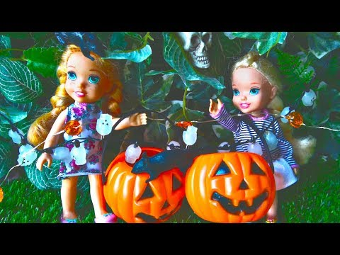 Thumbnail: Elsa and Anna toddlers celebrate Halloween with Barbie and friends and My little Pony