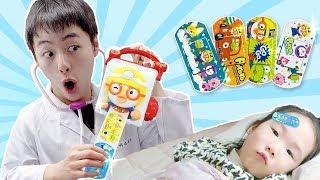 뽀로로반창고(뽀로로밴드)로 스티커로 병원놀이 해봐요. Pororo Band Aids Hospital Doctor Toys like BoramTube